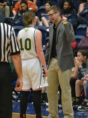 Plainview coach Phillip George talks to former Lady Hornet Alex Harrison (10) during a timeout in the 2018 Class C semifinals against Simpson. George was named as the 2020 LSWA Class C Coach of the Year.
