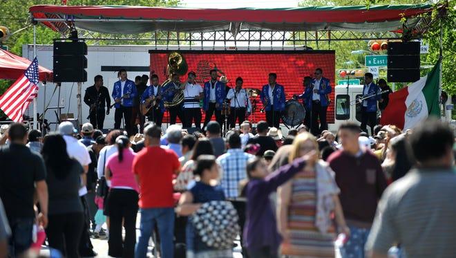 Banda La Morena entertains Cinco de Mayo festival crowds Sunday, May 8, 2016 on Landis Avenue in Vineland.