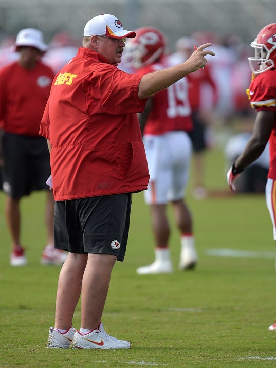 Kansas City Chiefs coach Andy Reid gestures during NFL football training camp Sunday morning, July 27, 2014, in St. Joseph. Mo. (AP Photo/St. Joseph News-Press, Todd Weddle)