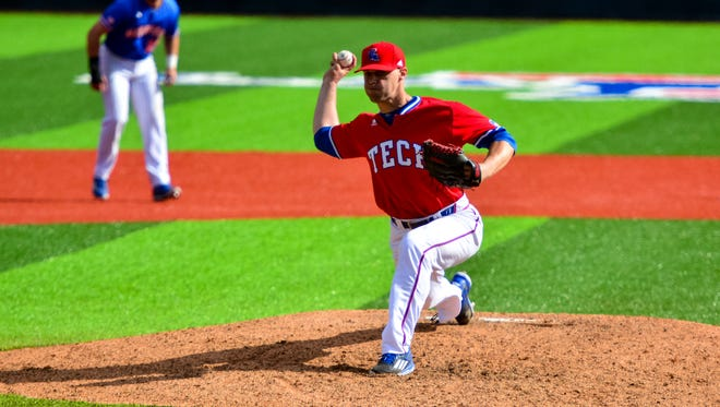 Louisiana Tech senior Adam Atkins changed his delivery last year to utilize a sidearm angle. He currently sports a 0.85 ERA with eight saves.