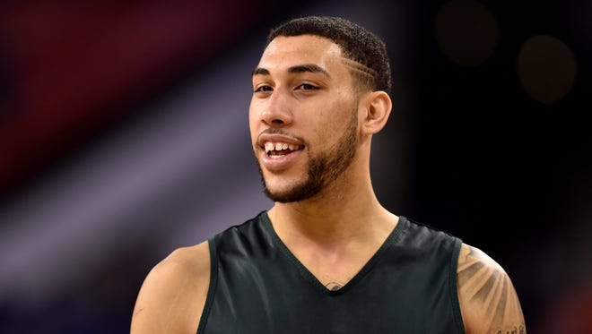 Michigan State guard Denzel Valentine practices at Lucas Oil Stadium.