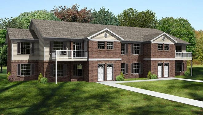 This rendering depicts pone of the buildings to be constructed at Prestwick Village Apartments at 2363 Cedar St. in Delhi Township.