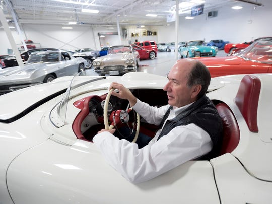 Ken Lingenfelter, owner of Lingenfelter Performance Engineering, sits in his 1955 Chevrolet Corvette Zora Dontov test mule at his showroom in Brighton, April 10, 2017.