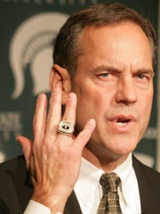 Mark Dantonio showed off his championship ring with the 2002 Ohio State team when he first was introduced at Michigan State.