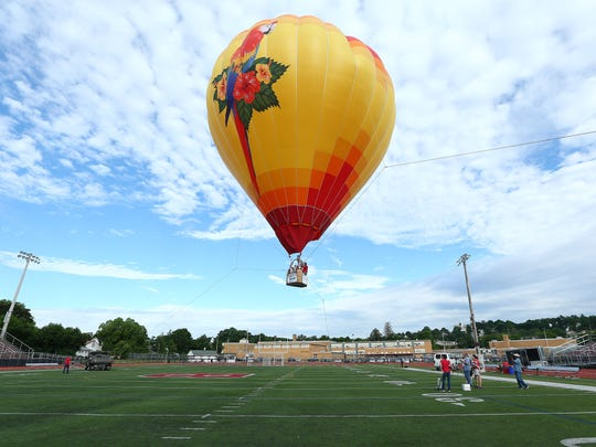 11-year-old Peter Clear, a fifth grade student from John Hill School in Boonton wins annual Quick Chek Balloon Festival's annual patriotic essay contest. Peter got a chance for a tethered balloon ride at Boonton High School as the contest winner. June 20, 2018. Boonton, NJ