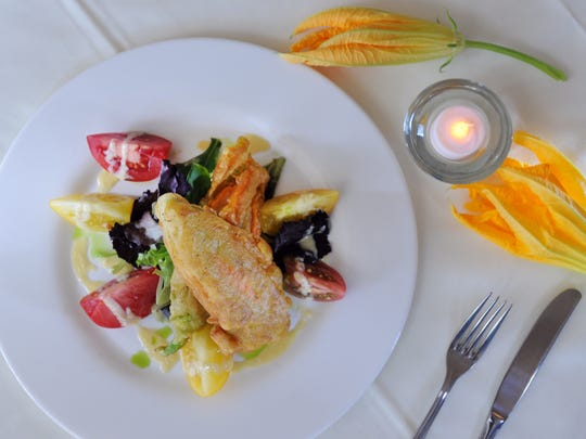 zucchini flowers and salad.