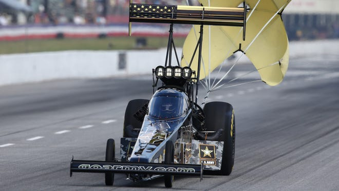 Tony Schumacher, seen here in May, won the Top Fuel title at the New England Nationals.