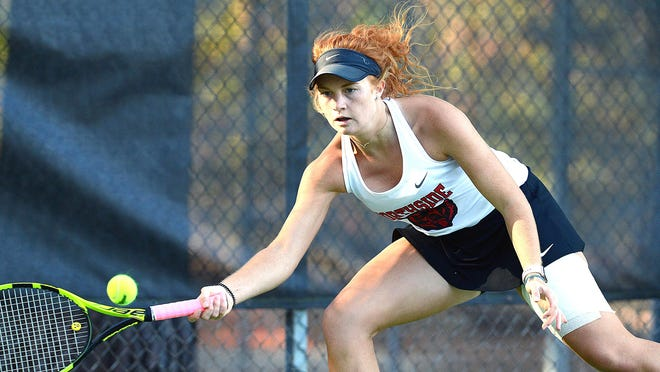 Northside's Kate Files returns a shot by Bentonville's Ella Coleman during the 6A state championship match at Rebsamen Tennis Center in Little Rock on Tuesday, Oct. 13, 2020.