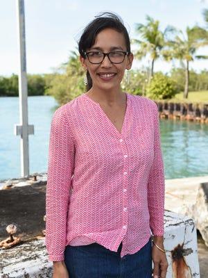 Rita Nauta, Guampedia.com's managing director, at the Pan American Clipper Landing Site on March 25, 2017.