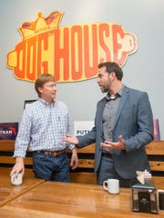 Republican gubernatorial candidate Adam Putnam, left,