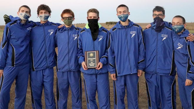 The West Franklin boys cross country team won the Flint Hills League championship Thursday. Team members are Timothy Pearce, Kale Link, Kyle Haner, Nicholas Hatfield, Nathan Hassler, Martir Caceres-Ramos and Lucas Hassler.
