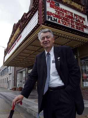 Former Peekskill Mayor Fred Bianco stands outside the Paramount theater June 22, 2005. Bianco was the mayor who decided the city should acquire and preserve the Paramount in the late 1970s.