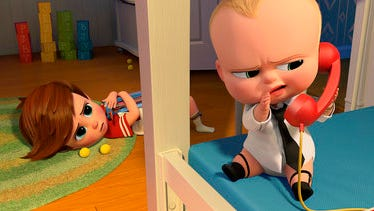 "Tim, voiced by Miles Bakshi, and Boss Baby, voiced by Alec Baldwin, appear in a scene from the animated film ""The Boss Baby."""