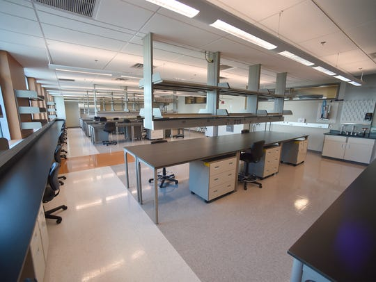 One of nine research labs inside the Florida Center for Bio-Science designed for high level research inside the former Vaccine & Gene Therapy Institute Florida.