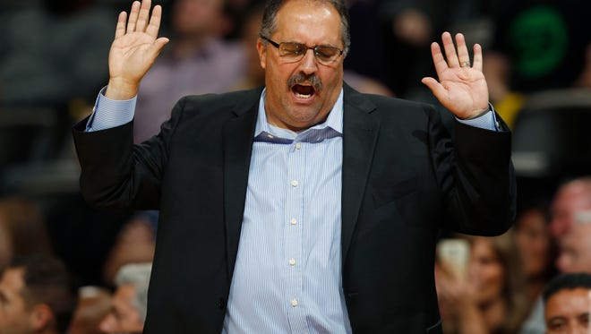 Pistons coach Stan Van Gundy reacts to a call against his team in the second half of the Pistons' 106-95 win over the Nuggets Saturday in Denver.
