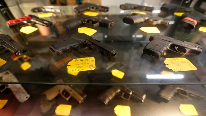 Guns for rent to shoot in the new indoor shooting range at Cherokee Firearms on the corner of West College Street and Kansas Expressway.
