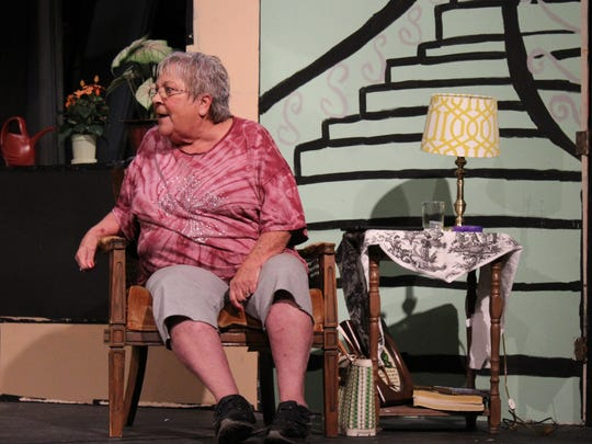 "Karen Reese is Abby, a crusty broad living in a retirement home in this rehearsal scene from ""Ripcord,"" which opens Thursday at Abilene Community Theatre."