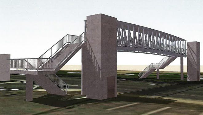 This drawing shows one option for a pedestrian overpass above Warren Avenue at 16th Street, the main entrance to Olympic College.