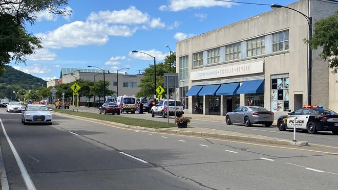 City police and AMR ambulance responded to an incident at 1:22 p.m. Friday where a female pedestrian was struck by a Toyota Highlander while crossing a crosswalk on Denison Parkway, near Pine Street.