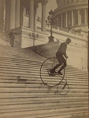 A perilous ride on a Pony Star bicycle down the U.S. Capitol Steps, 1885.