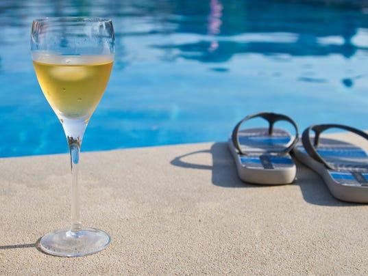 Poolside wine