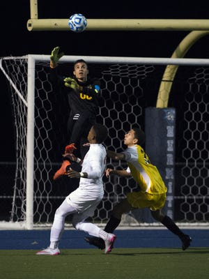 Delran's Philippe Alves leaps for a save against Bernards in the Group 2 state semifinals last year. The goalie is one of the players to watch for the 2017 season.