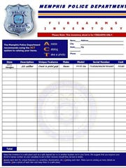 A screen shot of a firearms inventory sheet from the