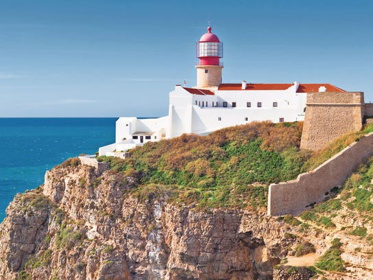 The lighthouse of Cape St. Vincent in Sagres, Portugal.