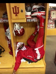 Shane Wynn, who has a comic side, is small enough to fit inside his IU football locker. (From Wynn's Instagram.)