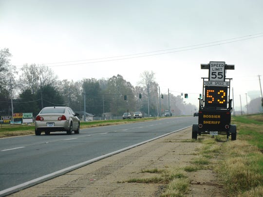 A speed monitor was set up near the intersection of