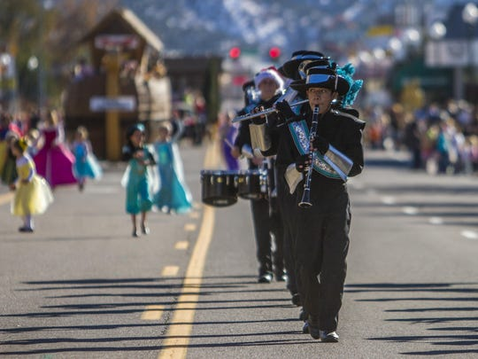 Canyon View High's marching band performs during Cedar City's Storybook Cavalcade Parade Saturday, Nov. 14, 2015.