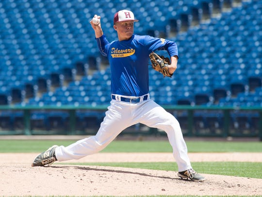 Delaware North's Ryan Speed (37) sends a pitch in the