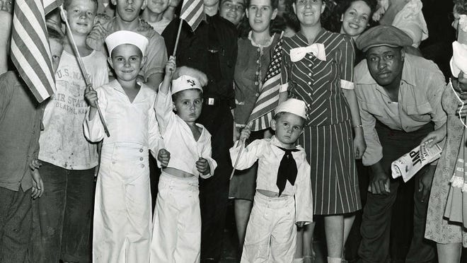 Americans across the country celebrated the the first news of Japanese surrender on Aug. 14, 1945. Americans, however, generally celebrate V-J Day on Sept. 2, the anniversary of Japan's formal surrender aboard the USS Missouri in Tokyo Bay.