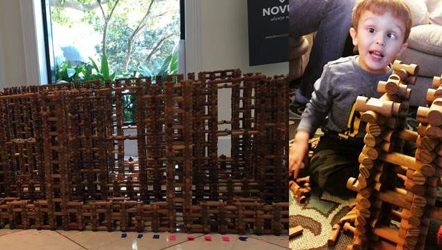 Two South Carolina parents, and the organization they launched after their son died of childhood cancer, broke a Guinness World Record with a Lincoln Logs fort, left. They built the fort to honor their son Sam, right, who loved building with Lincoln Logs, and to bring attention to the lack of funding that pediatric cancers receive.