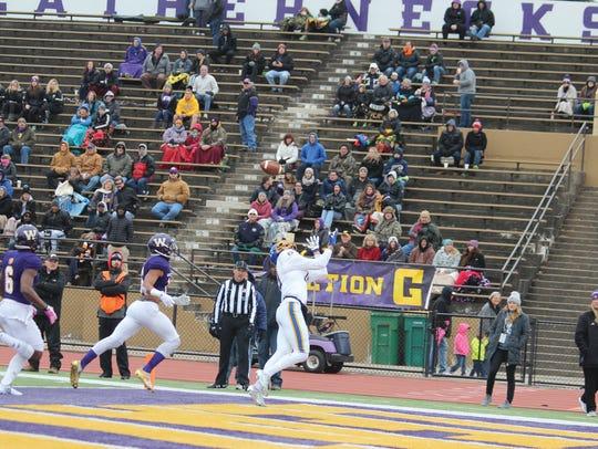 SDSU receiver Jake Wieneke attempts to catch a pass