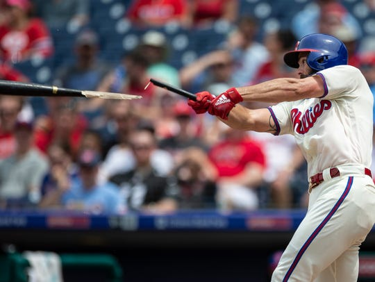 Philadelphia Phillies' Jake Arrieta breaks his bat