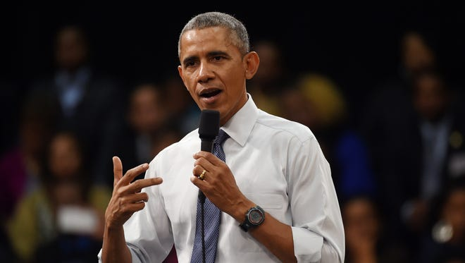 President Obama speaks during a town-hall meeting about the importance of community involvement on Friday at Benedict College in Columbia, S.C.