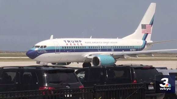 The Eastern Airlines Boeing 737 being used by the Trump-Pence campaign is seen in Cleveland  on July 22, 2016, in this footage captured by USA TODAY NETWORK affiliate WKYC TV of Cleveland.