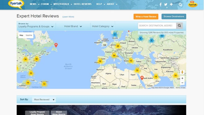 "Frequent-flier site FlyerTalk has launched its ""Expert Hotel Reviews"" site to evaluate hotels."
