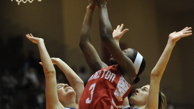 Princeton's Jackie Young (center) is a leading candidate to win IndyStar Miss Basketball.