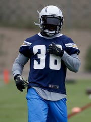 San Diego Chargers rookie Desmond King warms up during an NFL football rookie minicamp Friday, May 12, 2017, in San Diego. (AP Photo/Chris Carlson)