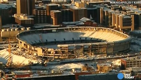 The Metrodome, home of the Minnesota Vikings, has been taken down using controlled explosives.