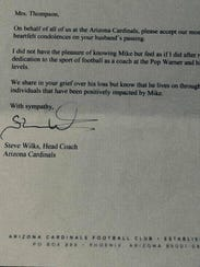 Cardinals head coach Steve Wilks wrote a letter of