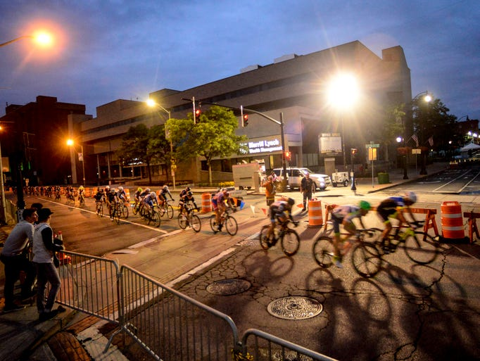 Professional men cyclists go down Hawley Street during the 31st Chris Thater Memorial Races on Saturday.