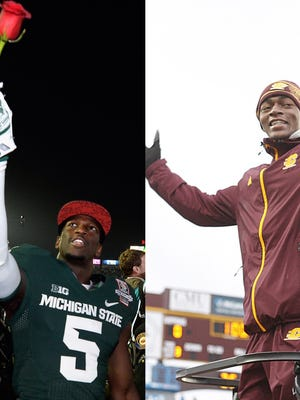 MSU's DeAnthony Arnett, left, and former CMU football player Derrick Nash, who died in June after a two-year battle with leukemia. Both are from Saginaw.