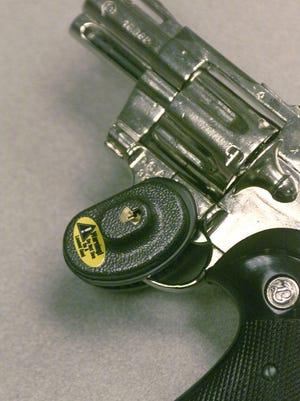-  A trigger lock on a replica of a .357 magnum pistol at Handgun Control Inc., in Washington, D.C.