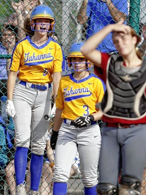 Caroline Heller (left), a senior co-captain and three-year starter at catcher, was looking forward to playing a key role in her final season with the Gahanna Lincoln softball team before spring sports were canceled because of the COVID-19 coronavirus pandemic.