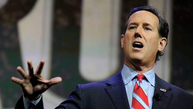 Former Sen. Rick Santorum, R-Pa., speaks at the NRA-ILA Leadership Forum during the NRA Convention at Music City Center in Nashville, Tenn., Friday, April 10, 2015.