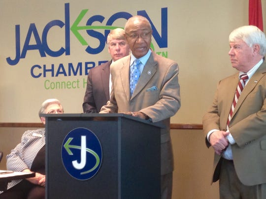 State Rep. Johnny Shaw addresses the crowd at Capitol Talk on Friday morning at the Jackson Chamber.