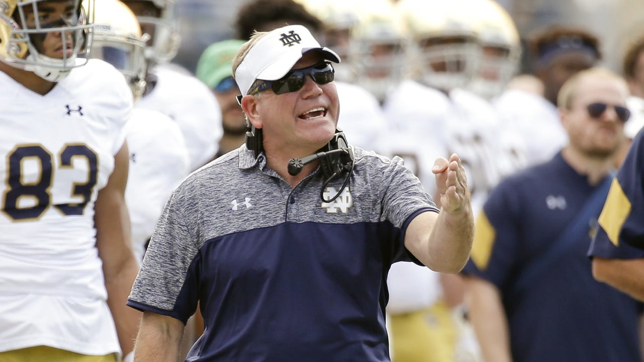 'There's a battle there now.' Brian Kelly talks ND's first practice in pads